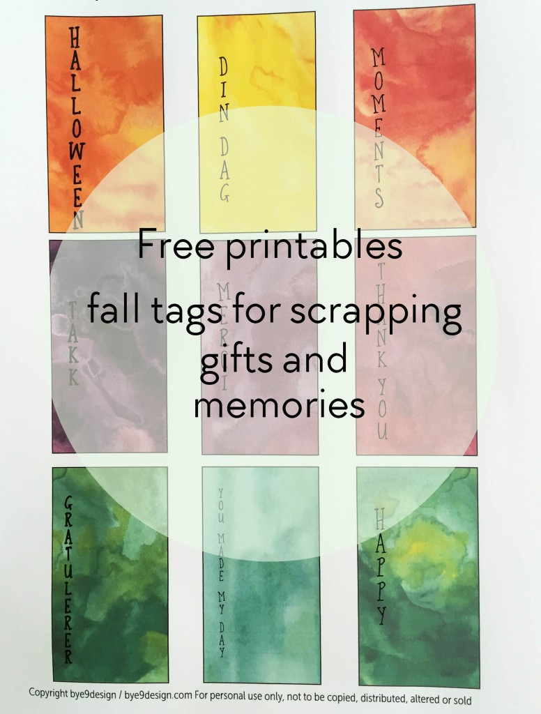 free printables - fall tags - Halloween printables - scrapping