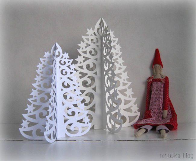 Julepynt av papir - stjerner og juletrær i forskjellige varianter