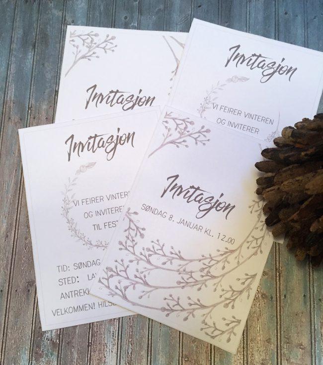 Invitasjon til vinterparty - redigerbare invitasjoner