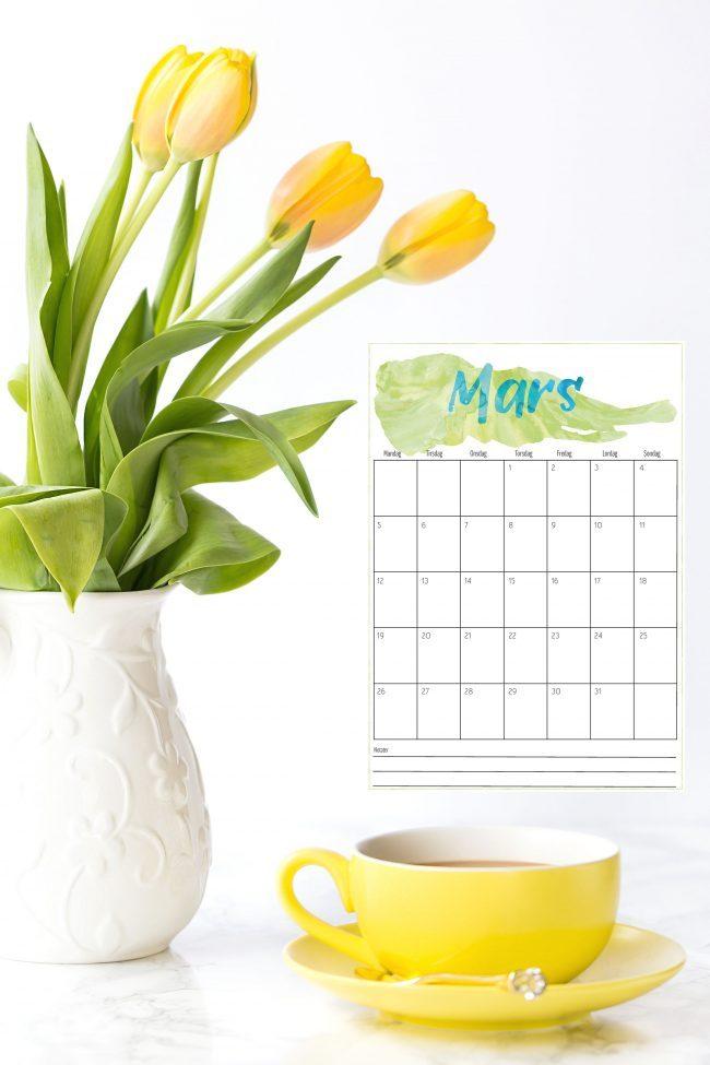 Gratis mars 2018 kalender