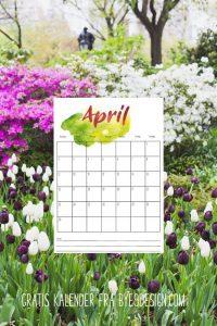 Gratis april 2018 kalender