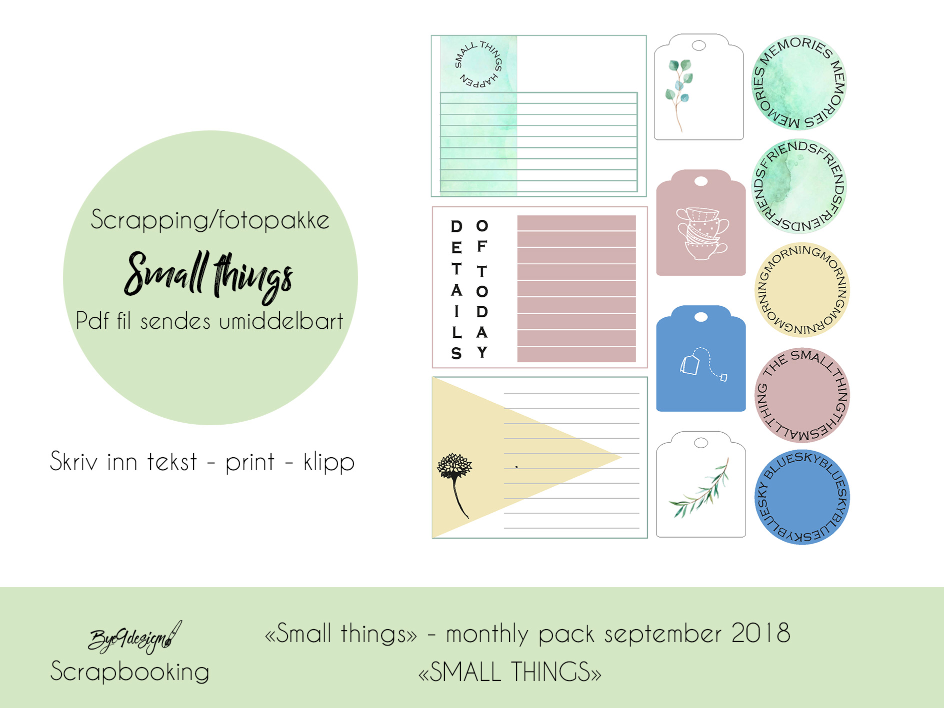 "Duse farger og ""small things"" i scrappepakken for september"